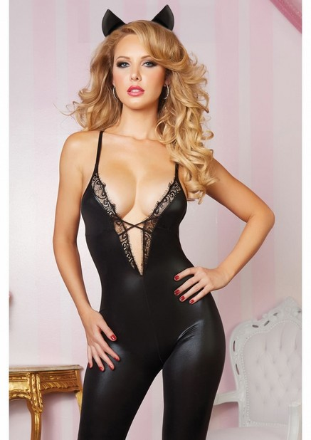 Leather and Lace Cat Bodysuit