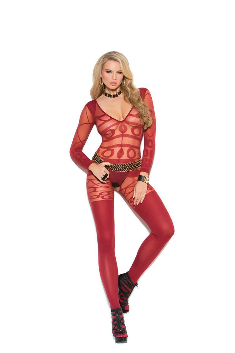 Abstract Sheer Burgundy Bodystocking