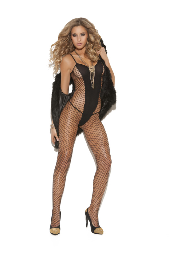 Nylon and Fishnet Bodystocking