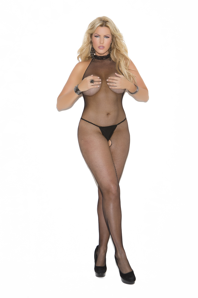 Queen Fishnet Halter Bodystocking W/Open Crotch
