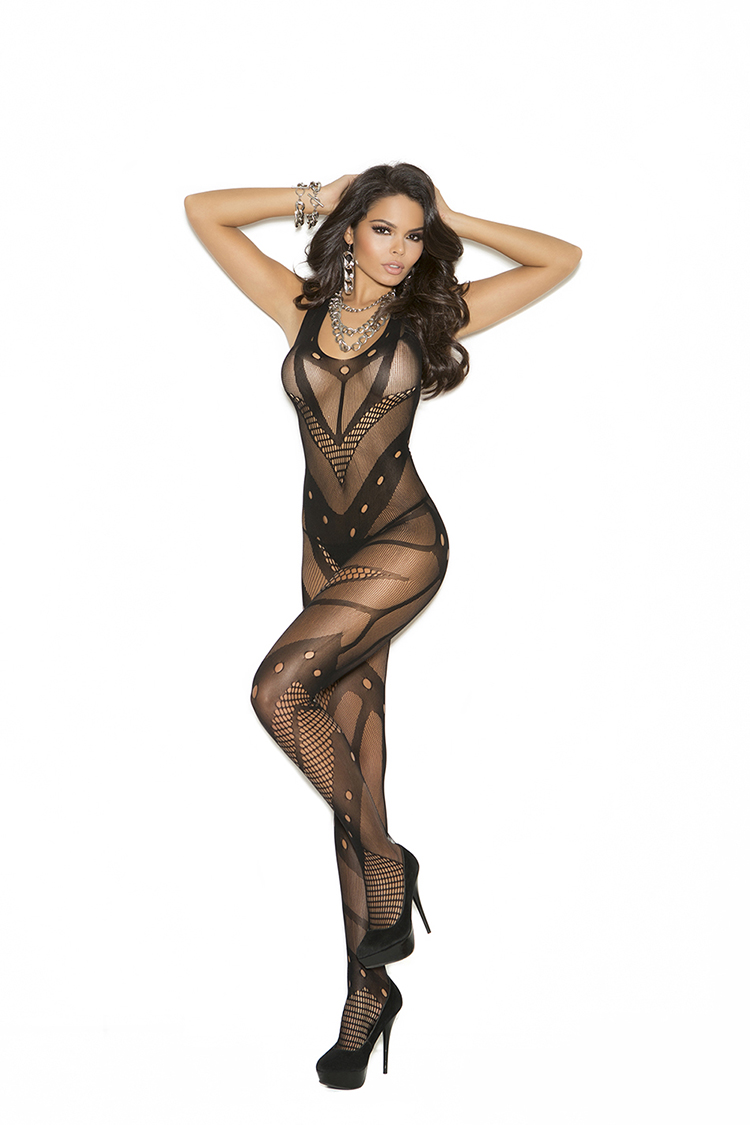 Net Crochet Bodystocking W/Open Crotch