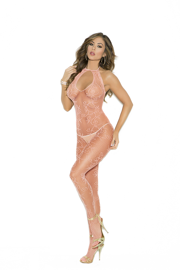 Scroll Pattern Fishnet Bodystocking W/Open Crotch