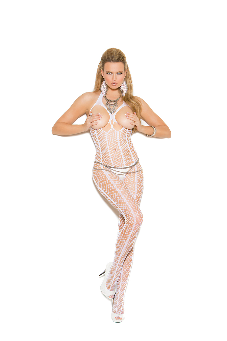 Open Bust Crochet Bodystocking W/Open Crotch