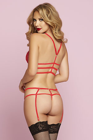 Red Strappy 2pc w/Garters