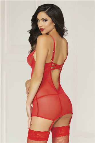Red Lace Chemise w/Garters
